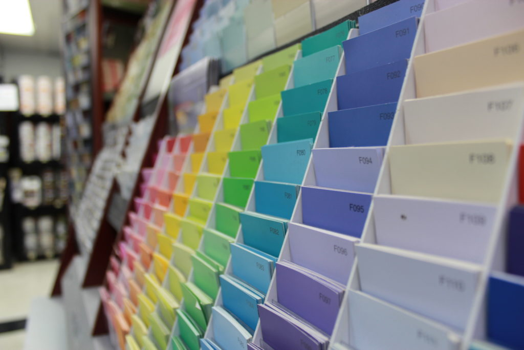 Paint swatches on display